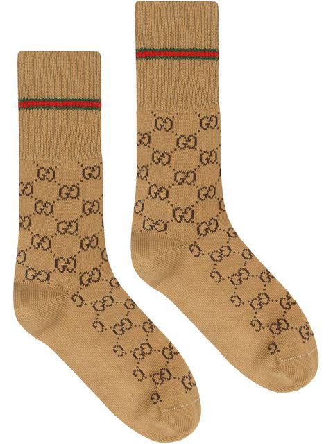 Gucci Men's Gg Socks With Web Trim In 9866 Brown