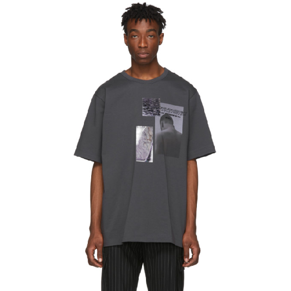 Juun.j Slogan Embroidered Photographic Print T-shirt In 4 Ash