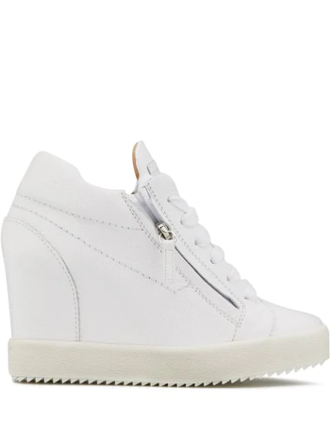 Giuseppe Zanotti High Top Wedge Sneaker In White