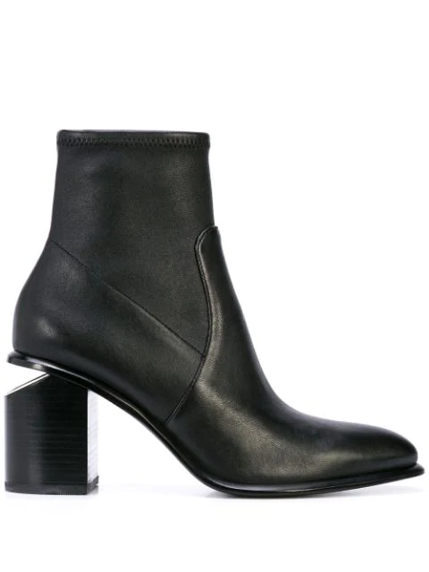 Alexander Wang Anna Leather Block-Heel Stretch Booties In Black