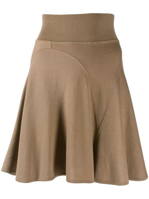 Alaïa Short Godet Skirt In Brown