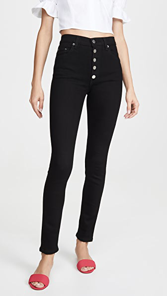 Reformation Cory High Waisted Skinny Jeans In Black