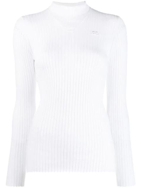 CourrÈGes Turtleneck Sweatshirt In White