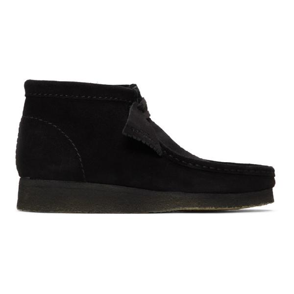 Clarks Originals Wallabee Boots In Black Suede