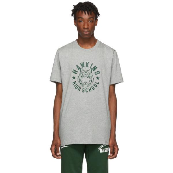Nike Grey Stranger Things Edition Hawkins High T-shirt In 063dkgryhea
