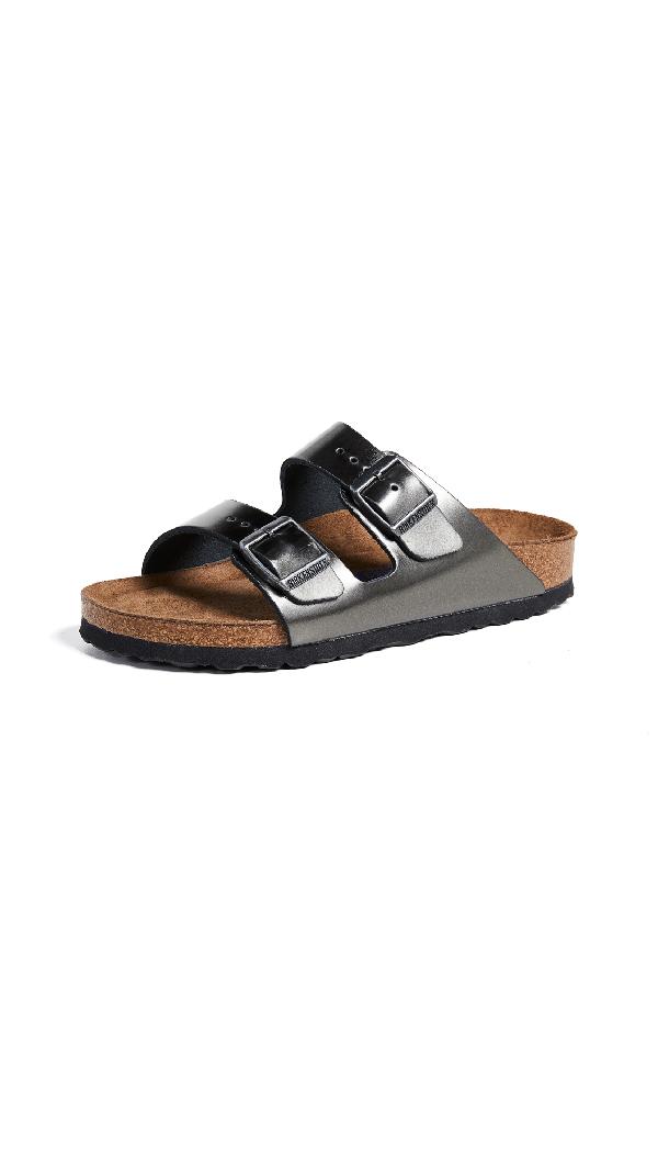 Birkenstock Arizona Leather Sandals In Metallic Anthracite