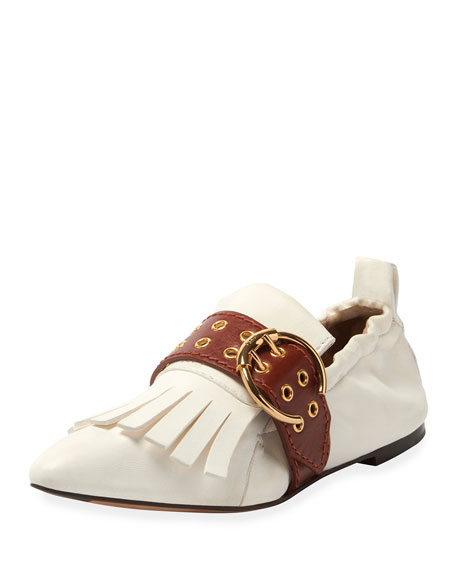ChloÉ Roy Belted Ballet Flats In Cloudy White