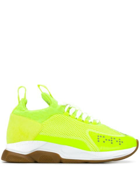 Versace Cross Chainer Mesh Runners In Yellow