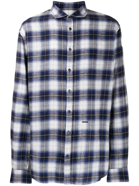 Dsquared2 Check Flannel Shirt In Blue