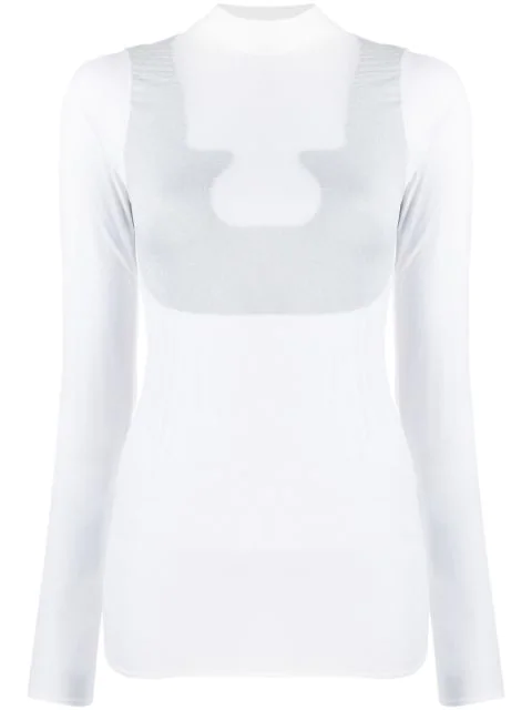 CourrÈGes Sheer High Neck T In White