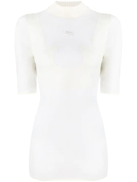 CourrÈGes Sheer Jersey T-Shirt In White