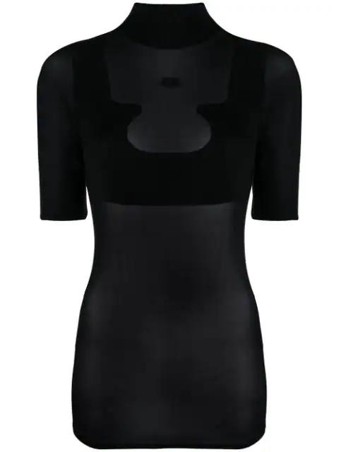 CourrÈGes Sheer High Neck T-Shirt In Black