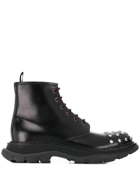 Alexander Mcqueen Men's Studded Leather Combat Boots In Black