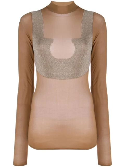 CourrÈGes Sheer High Neck T-Shirt In Brown