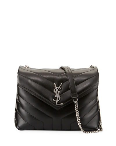 c74b0f4ab7 Saint Laurent Loulou Monogram Small Velvet Shoulder Bag In Black ...