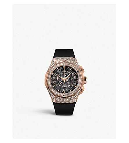 Hublot 525.ox.0180.rx.1704.orl19 Classic Fusion Aerofusion Chronograph Orlinski 18ct King-gold And Diamond  In Black