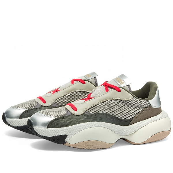 Puma Men's Alteration Pn2 Chunky Mesh & Leather Trainer Sneakers In Grey