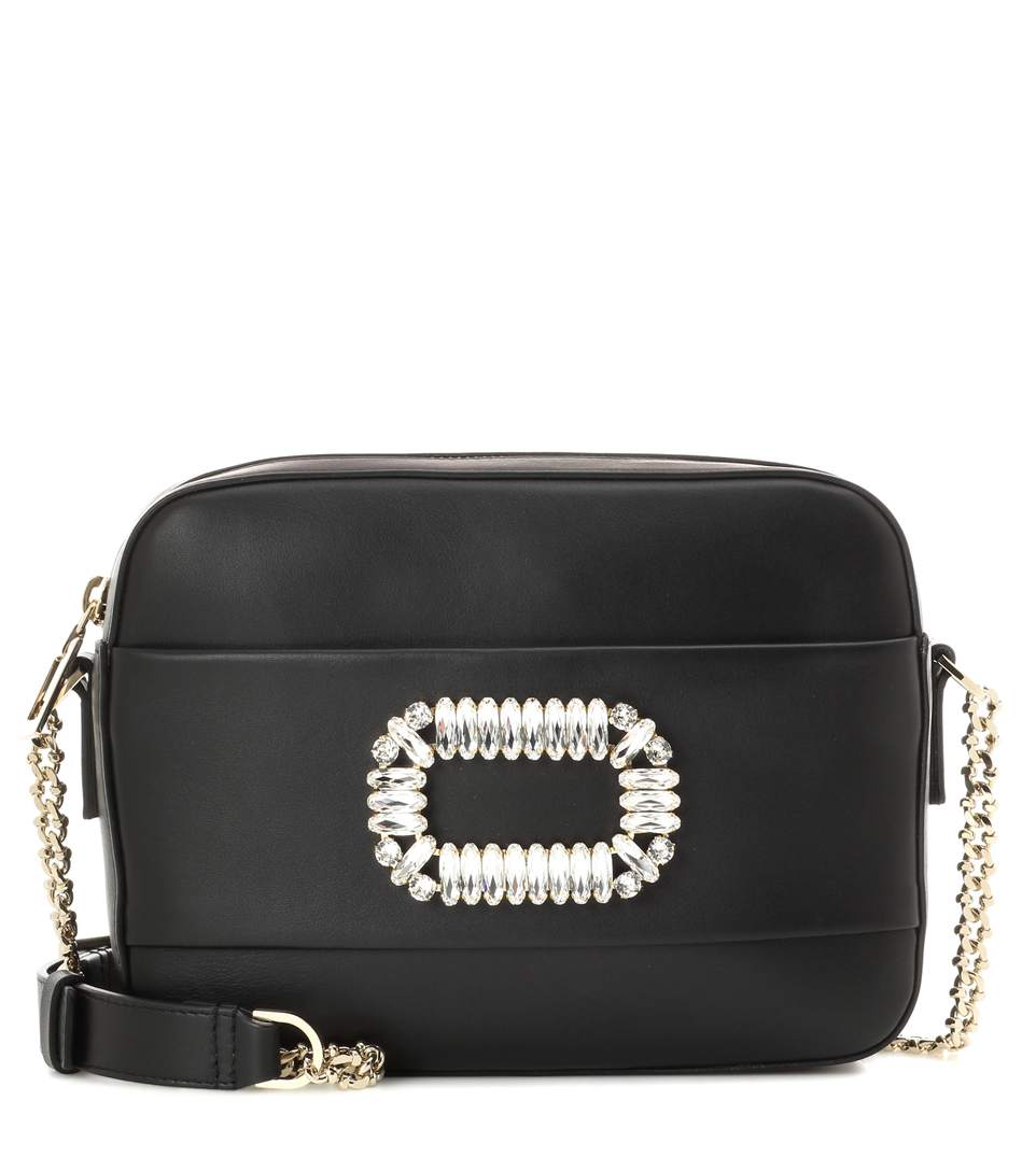 Roger Vivier Photocall Crystal Embellished Leather Crossbody Bag In Black e4e2f6a9ebdfb