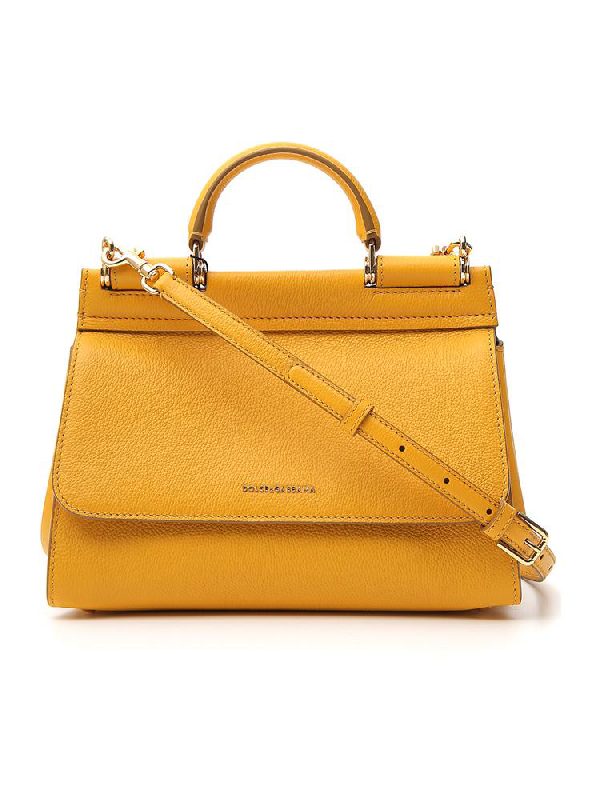 Dolce & Gabbana Small Soft Sicily Shoulder Bag In Yellow