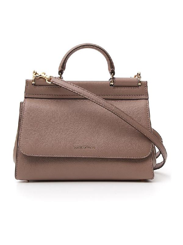 Dolce & Gabbana Small Soft Sicily Shoulder Bag In Brown