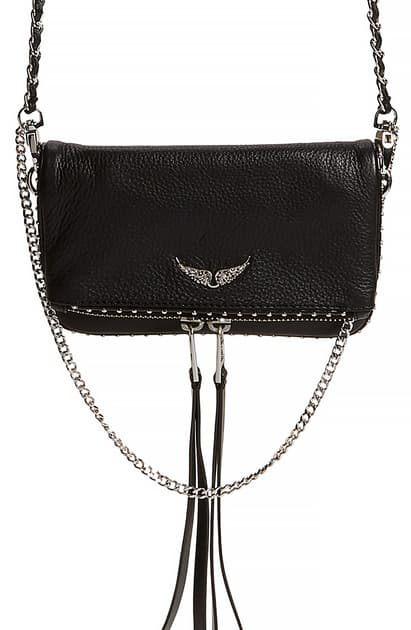 Zadig & Voltaire Rock Nano Bag In Black Grained Leather In Noir