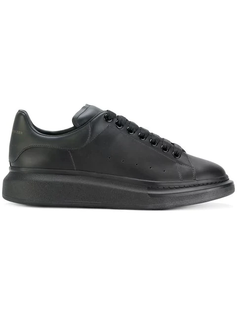 Alexander Mcqueen 'Oversized Sneaker' In Flocked Leather In Black