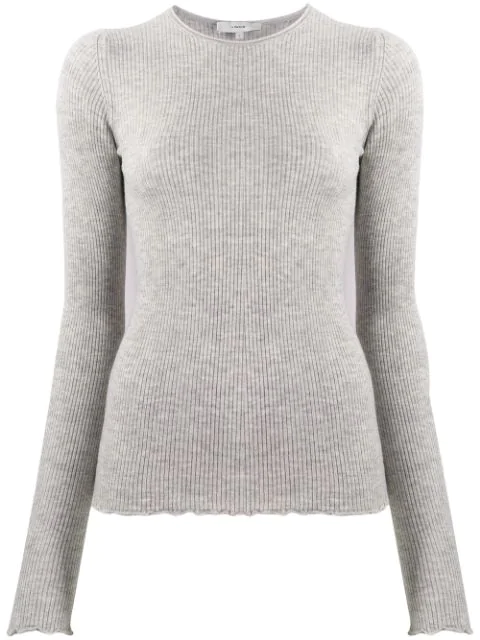Vince Ribbed Knit Sweater In Grey