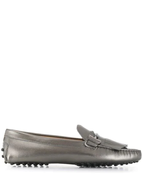 Tod's Gommino Fringed Loafers In Metallic