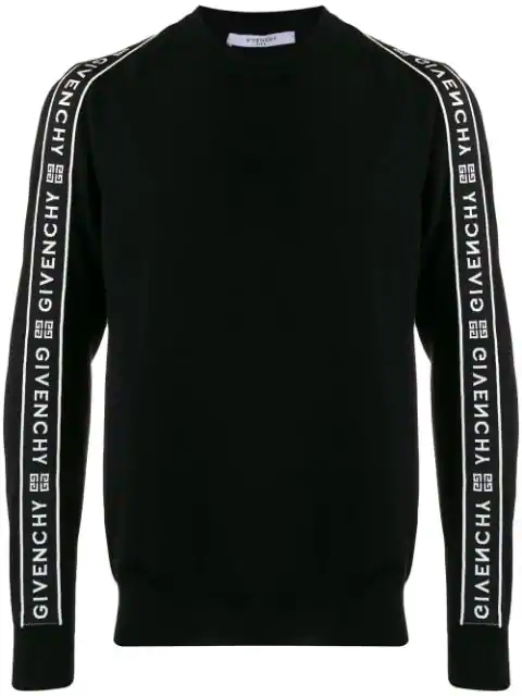 Givenchy Large Band Crewneck Wool Sweater In Black
