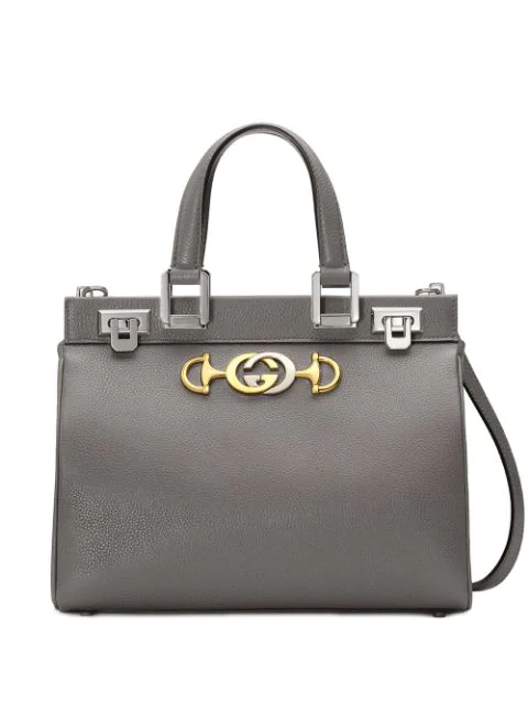 Gucci Zumi Grainy Leather Medium Top Handle Bag In Grey