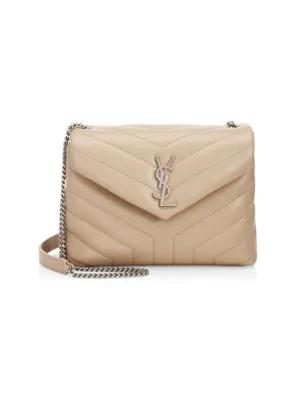 2e4e861e9b3983 Saint Laurent Loulou Monogram MatelassÉ Medium Envelope Satchel Bag  In Dark Beige