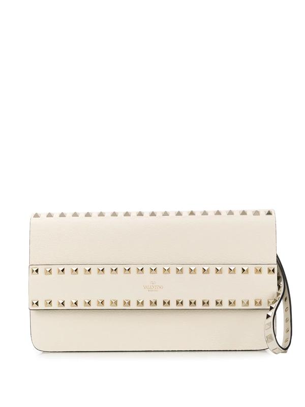 Valentino Garavani Neutral Rockstud Leather Clutch Bag In White