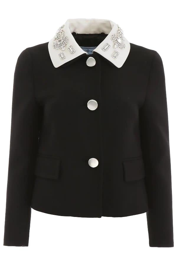 Prada Crystal-Embellished Jacket In Black