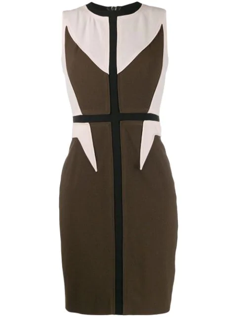 Givenchy 2000's Panelled Fitted Dress In Green