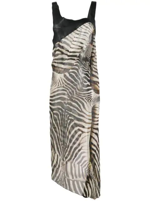 Jean Paul Gaultier 2000's Zebra Print Dress In Black