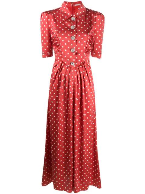 Alessandra Rich Polka Dot Silk Satin Short Sleeve Dress In Red