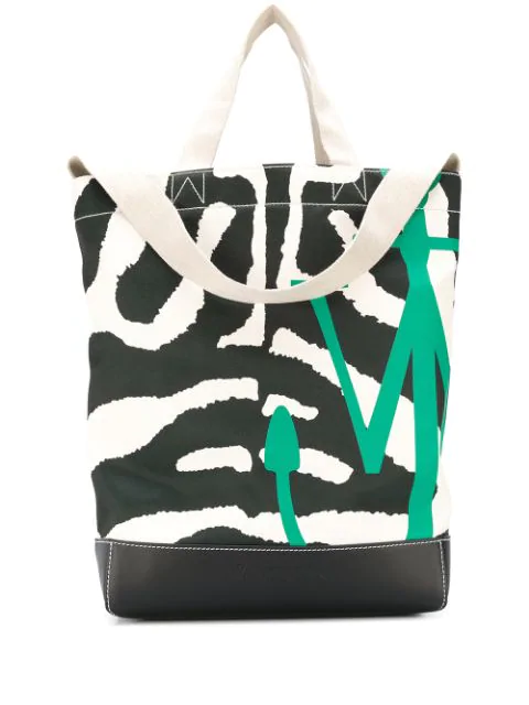 Jw Anderson Anchor Logo Tote Bag In Black & White