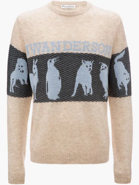 Jw Anderson Animal Jacquard Jumper In Parchment