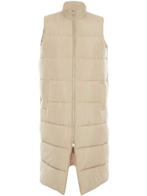 Jw Anderson Long Sleeveless Puffer Jacket In Neutrals