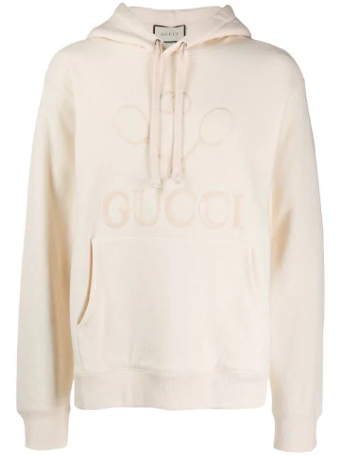 Gucci Embroidered Tennis Hooded Sweatshirt In White In 9320
