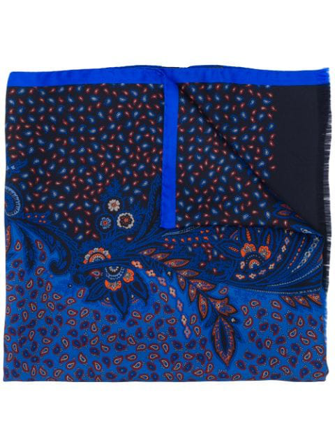 Etro Embroidered Paisley Scarf In Blue
