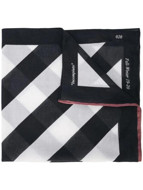 Off-white Diagonal Striped Scarf In Black