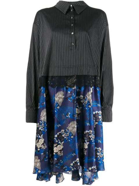 Faith Connexion Contrast Skirt Shirt Dress In Blue