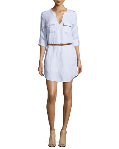 Joie Rathana Belted Military Shirt Dress In Porcelain
