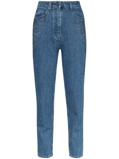 Etro Embroidered Skinny Jeans In Blue