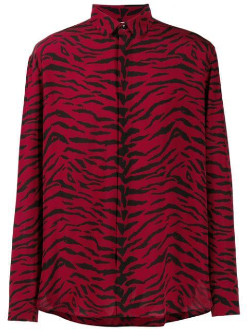 Saint Laurent Men's Tiger-Print Silk Button-Down Shirt In 6276 Nero-Rosso