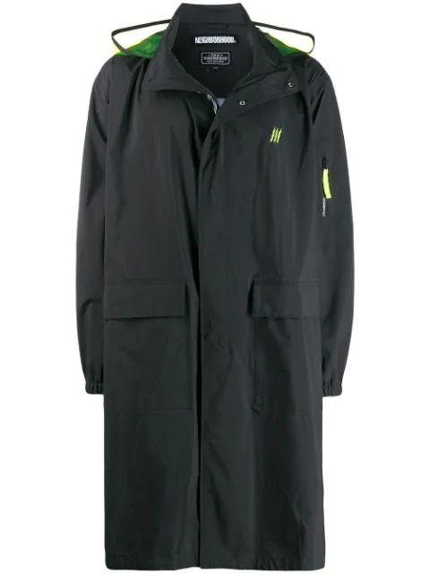 Neighborhood Hooded Raincoat In Black