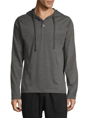 Unsimply Stitched Hooded Long Sleeve Shirt In Dark Grey