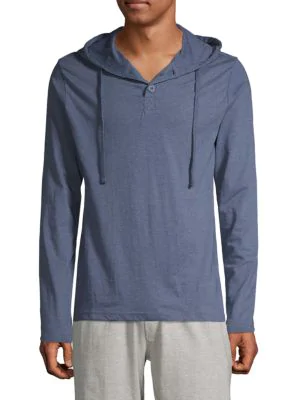 Unsimply Stitched Hooded Long-sleeve Shirt In Blue