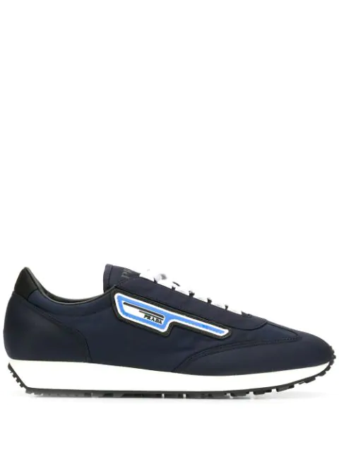 Prada Low-Top Lace-Up Sneakers In Blue